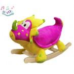 Мягкая меховая качалка «Розовый Динозаврик»